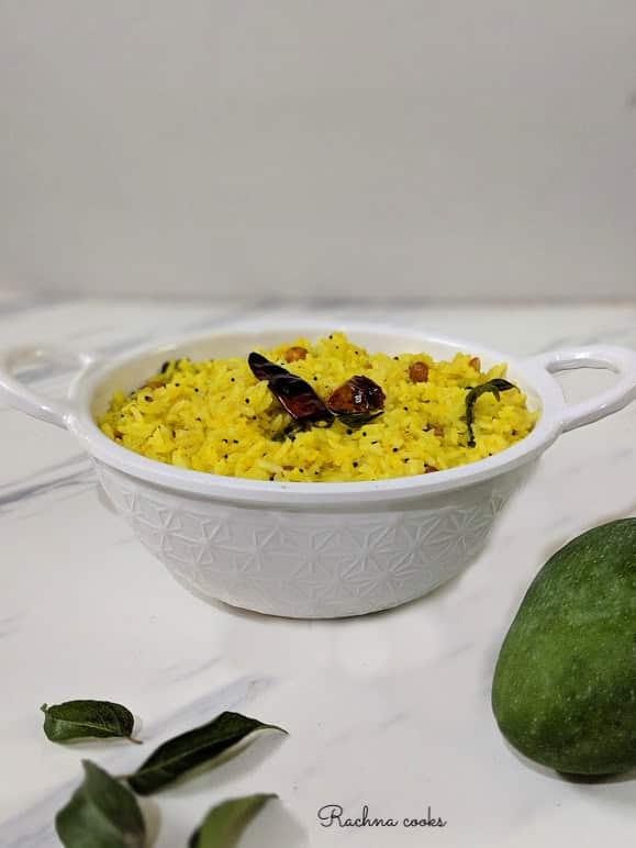 Raw mango rice is ready to serve