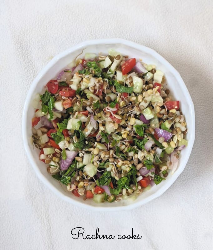 vegan sprouted lentil salad